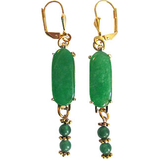 Upcycled GP Jadeite Cushion Style Cabochon and Beads on Leverback Pierced Earrings