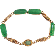 Upcycled 18kt GP Chinese Jadeite Cushion Style Cabochon with Pill Box Jade Clasp on Bracelet