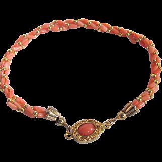 Vintage 18kt GP Angel Skin Coral Cabochon Clasp and Twisted Natural Coral Bracelet