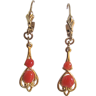 Vintage 18kt GP Italian Salmon Coral Cabochons French Clip Pierced Earrings