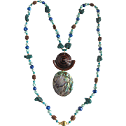Upcycled Boho Chic Abalone/Wood Pendant on Dyed Freshwater Pearl/Turquoise Necklace
