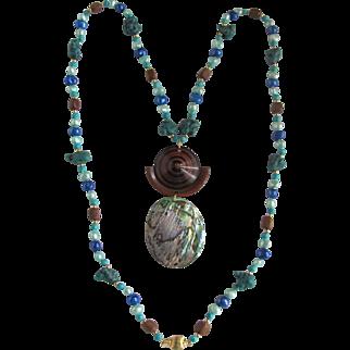 Upcycled Boho Chic Abalone/Wood Pendant on Dyed Freshwater Pearl/Turquoise Necklace
