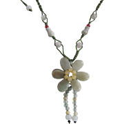 "Vintage Jadeite Double Flower 4mm Silk Cord Adjustable from 16"" to 36""  Necklace"