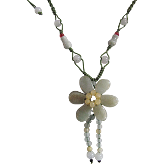"""Vintage Jadeite Double Flower 4mm Silk Cord Adjustable from 16"""" to 36""""  Necklace"""