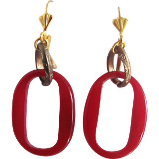 Upcycled Red Bakelite Link Leverback Pierced Earrings