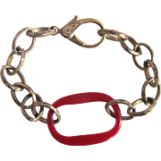 Upcycled Red Bakelite Link Stamped Brass Chain Bakelite