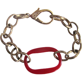 Upcycled Red Bakelite Link Stamped Brass Chain Bracelet