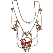 Antique Empire Festoon Natural Coral Lavaliere Necklace Certified Appraisal