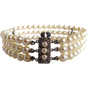 Vintage A+ Fine Quality Japanese Akoya Cultured Pearl Sterling Silver Clasp 3 Strand Bracelet Certified Appraisal $1485