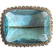 Antique Hand Made Press Fit Framed with Facetted Cushion Blue Paste Brooch Certified Appraisal $550