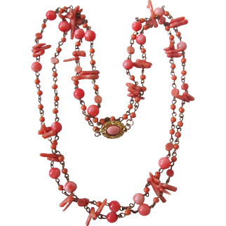 "Vintage 18kt GP Coral Cabochon Natural Angel Skin Coral Wired 36"" Necklace"
