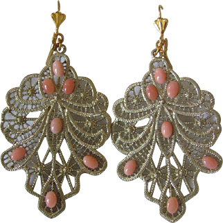 Vintage GP Filigree Angel Skin Coral Cabochon French Leverback Pierced Earrings