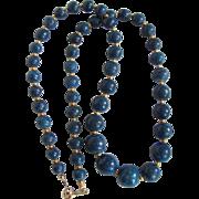 Vintage Graduated Denim Blue Enhanced Sponge Coral Necklace Certified Appraisal