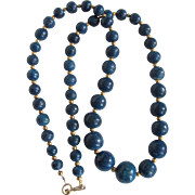 Vintage Graduated Denim Blue Enhanced Sponge Coral Necklace Certified Appraisal
