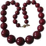 Vintage Signed Cadoro Bakelite Oxblood Graduated Beads Necklace