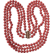Vintage Salmon Coral Enhanced 3 strand Necklace Certified Appraisal $1560