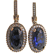 Vintage European GP Hand Crafted Style Blue Paste Crystal Faux Sapphire and Diamond Simulant Pierced Earrings