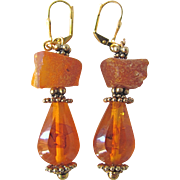 Artisan Vintage Raw Natural Baltic Amber & Vintage Natural Amber Drop GP Leverback Earrings