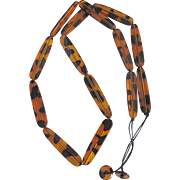 "MID CENTURY Faux Tortoise Shell LUCITE Huge Scale 42"" / 2 1/2"" Link Necklace"