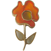 Vintage Sculpted Design Huge scale at 3 1/2 Inch - Poured Resin Plique a Jour GP Flower Brooch Signed Joy