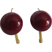 MID CENTURY Oxblood RED Composite Button Style Cabochon GP Dormeuse Pierced Earrings