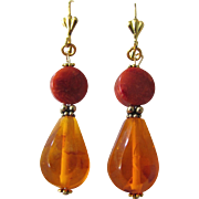 """Little Creations Salmon Coral Sponge and  Vintage Natural Amber 2 1/2"""" Large Scale Drop GP Leverback Earrings"""