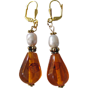 "Artisan Vintage Natural Amber with Genuine Freshwater Pearl  2 1/2"" Large Scale Drop GP Leverback Earrings"
