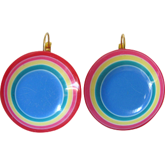 Mid Century Pop Art Lucite Philadelphia Color Disc Leverback Dormeuse Pierced Earrings