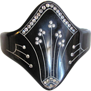 Art Deco Whitby Jet Cuff with Faux Pearls/Synthetic Diamonds Bracelet Certified Appraisal $1750