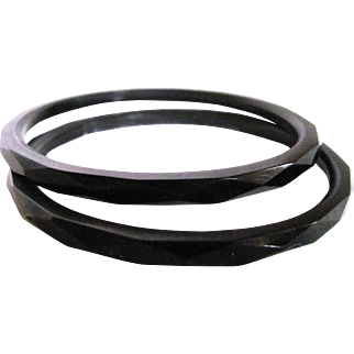 Art Deco Whitby Jet 2 Matching Facetted Bangles Certified Appraisal $780