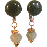 Little Creation Remix Jadeite Drops and Vintage Nephrite Cabochons on GP Omega Pierced Back Earrings