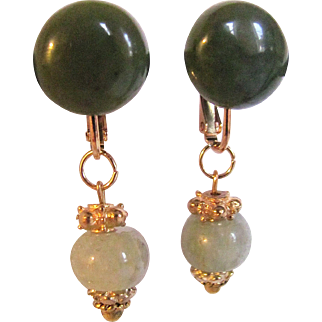 Vintage Jadeite Drops and Nephrite Cabochons on GP Omega Pierced Back Earrings