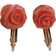 Vintage Salmon Coral Hand Carved Rose Cabochons on GP Omega Back Earrings