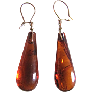 Vintage Natural Carved Baltic Amber Drop Pierced Earrings Certified Appraisal $515