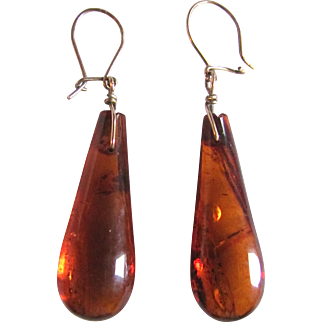 Vintage Natural Carved Baltic Amber Drop Pierced Earrings Certified Appraisal $515