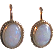 Vintage 12kt GF Contra Luz Opal Cabochons Screw back Earrings Certified Appraisal $435