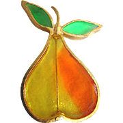 "Mid Century Signed  ""Joy"" Resin Plique a Jour Stained Glass Pear Brooch"