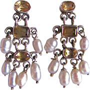 Vintage Citrine Gemstones with Cultured Freshwater Pearls Sterling Etruscan Style Chandelier Pierced Earrings Certified Appraisal $450