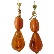 "Little Creations Natural Amber Carved Pumpkin Beads/ Honey Amber 2 1/2"" Large Scale Drop GP Leverback Earrings"