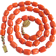 Vintage Chinese Export Glass Faux Coral Crafted Bead Silk Hand Knotted Necklace