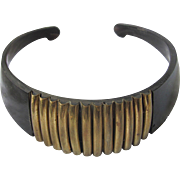 Mid Century Egyptian Revival Genuine Horn Brass Choker Necklace