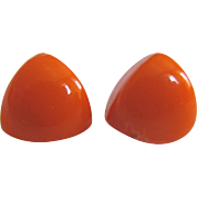 Vintage Bakelite NOS Orange Smaller Pierced Triangle Earrings