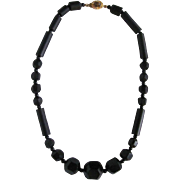 Antique Mourning Jewelry Whitby Jet and Onyx Bead Necklace 18kt GF Clasp