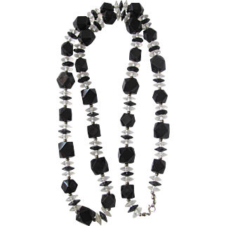 Mid Century Lucite Tetrahedroid Black Beads and Clear Spacer Necklace