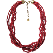 Vintage Enhanced Red Orange Coral 7 Strand Torsade Necklace Certified Appraisal $1680
