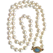 "Vintage 18kt GP Akoya ""A"" Quality - 20""- 6.5mm Graduated Cultured Pearl with Opal Necklace Certified Appraisal $1165"