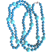 """Vintage Appraised $1980 Turquoise Stabilized 39"""" Flapper Necklace"""