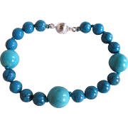 "Vintage Appraised $1980 Turquoise Stabilized 8"" Matching Bracelet"