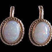 Vintage 12kt GF Contra Luz Opal Cabochons Screw back Earrings Certified Appraisal $435