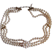 "Vintage Mallorca Faux Pearls Choker 14 3/4"" Necklace Certified Appraisal $1050"